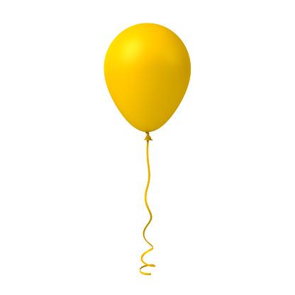 istock Yellow balloon isolated on white background 911787860