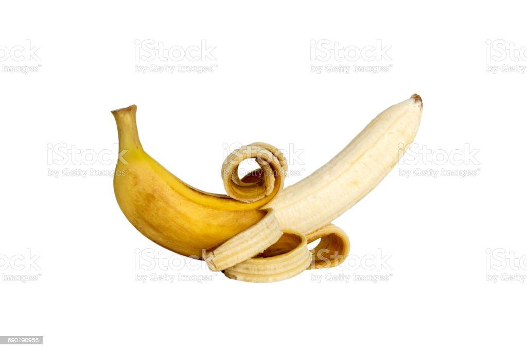 Yellow Bananas peeled skin drop isolated. stock photo