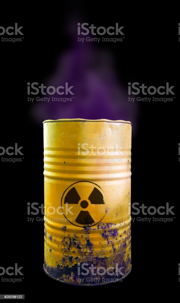 Yellow barrel of toxic waste isolated. Acid in barrels. Beware of poison. Toxicity stock photo