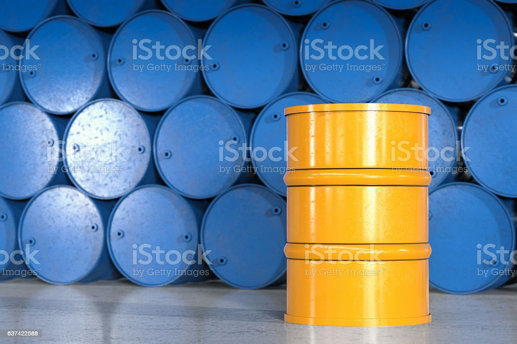yellow barrel with blue barrels background – Foto