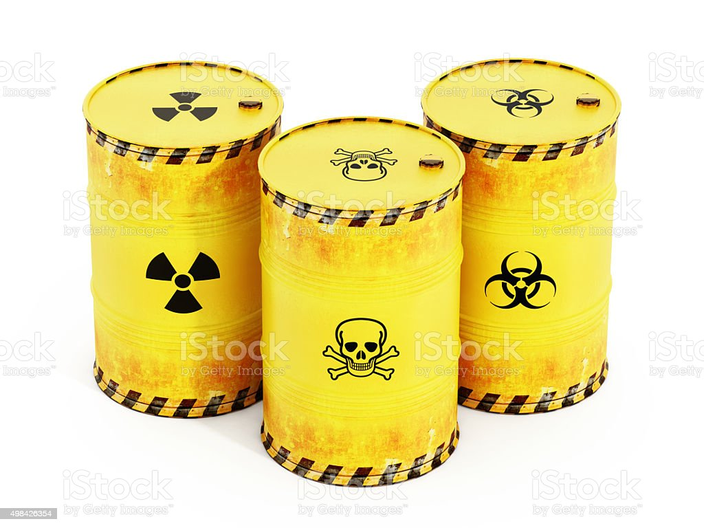 Yellow barrels containing dangerous substances stock photo