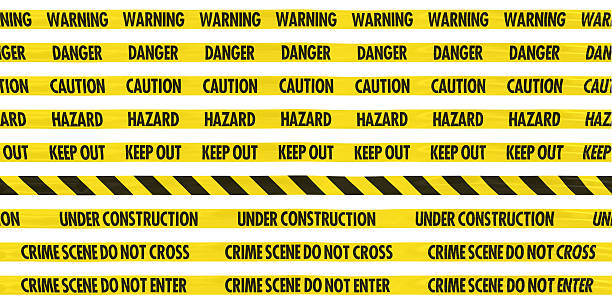 Yellow Barrier Tape Line Collection: Warning/Danger/Caution/Hazard/Keep Out/Striped/Under Construction/Crime Scene stock photo