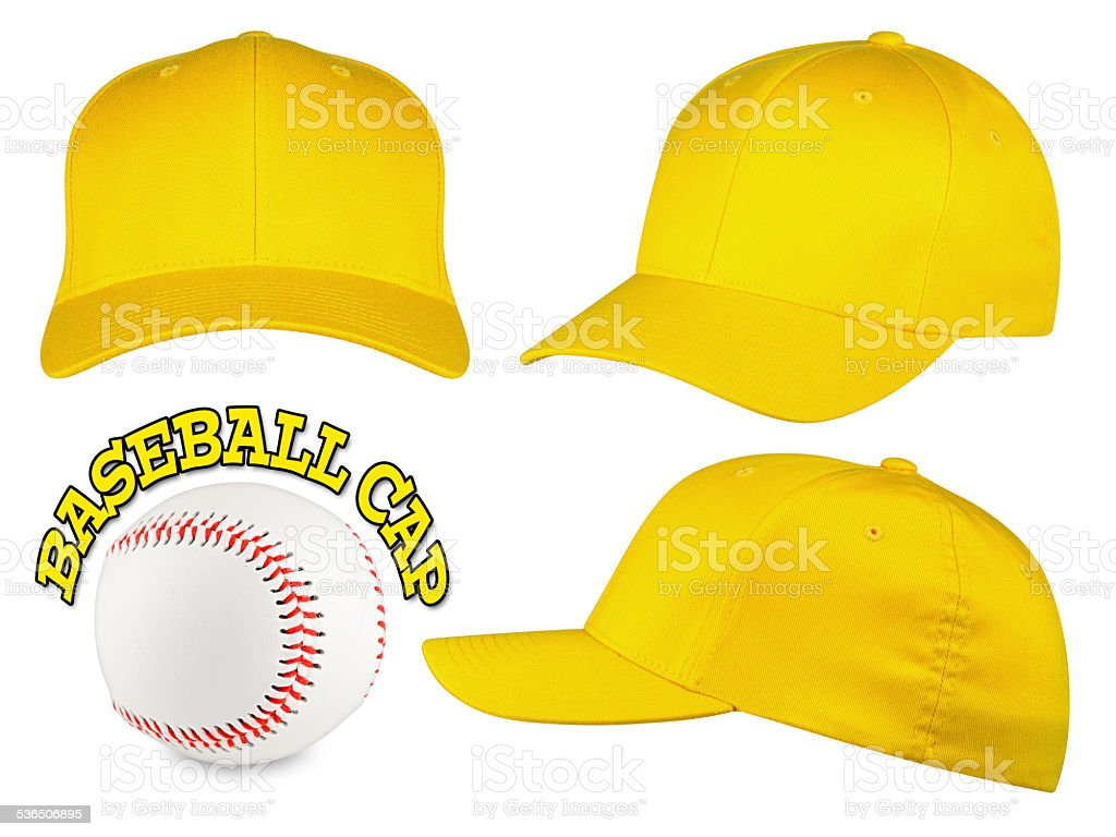 yellow baseball cap set stock photo