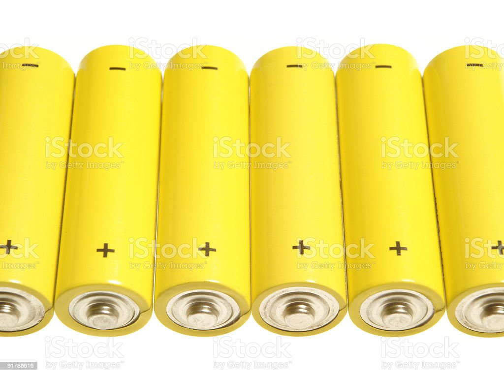 Yellow batteries stock photo