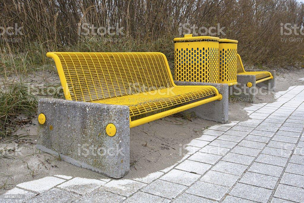 Yellow Beach Bench stock photo