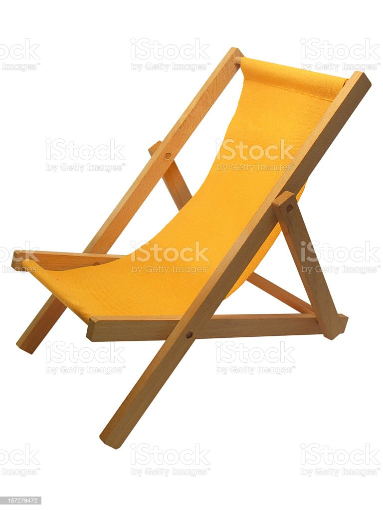 Yellow beach chair isolated on white royalty-free stock photo