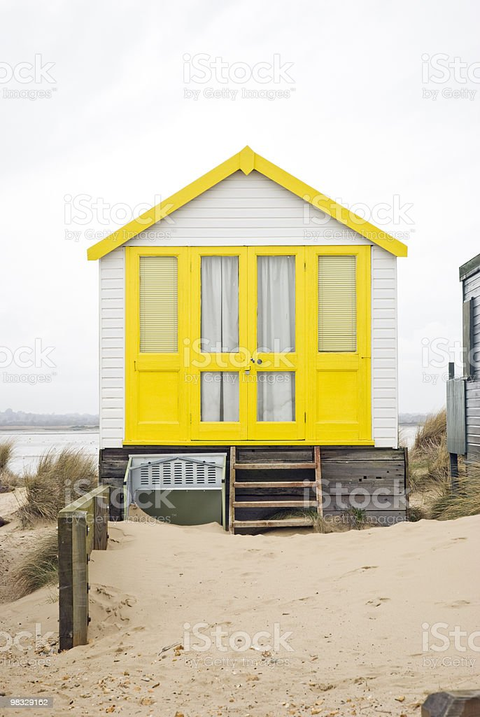 Yellow beach hut royalty-free stock photo