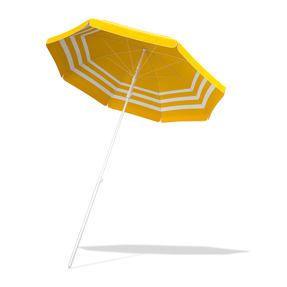 Yellow beach umbrella parasol isolated on white background with CLIPPING PATH, 3d rendering