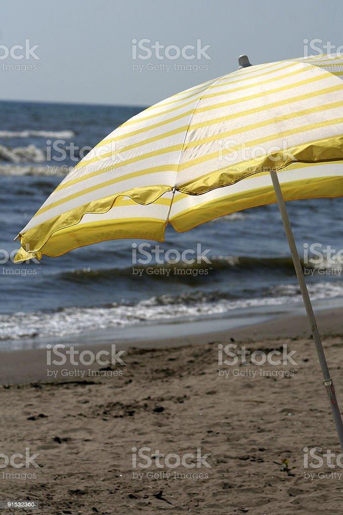 Yellow Beach Umbrella royalty-free stock photo