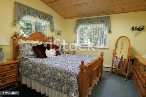 yellow bedroom with green carpet and accents