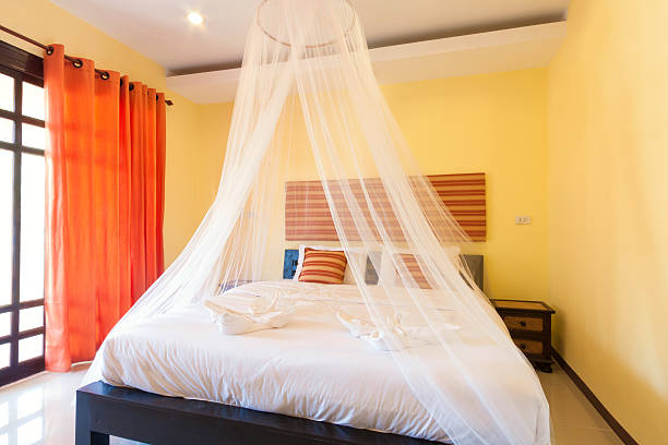 yellow bedroom Contemporary bedroom with mosquito netting at Banana Garden Beach, Koh lanta, Krabi, Thailand. netting stock pictures, royalty-free photos & images