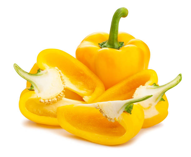 yellow bell pepper sliced yellow bell pepper path isolated on white yellow bell pepper stock pictures, royalty-free photos & images