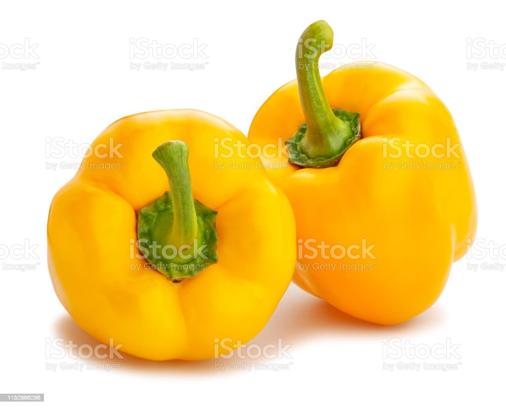 yellow bell pepper yellow bell pepper path isolated on white Antioxidant Stock Photo