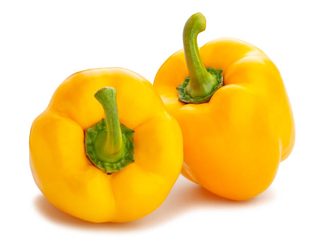 yellow bell pepper yellow bell pepper path isolated on white yellow bell pepper stock pictures, royalty-free photos & images