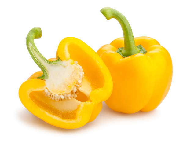 yellow bell pepper sliced yellow bell pepper isolated yellow bell pepper stock pictures, royalty-free photos & images
