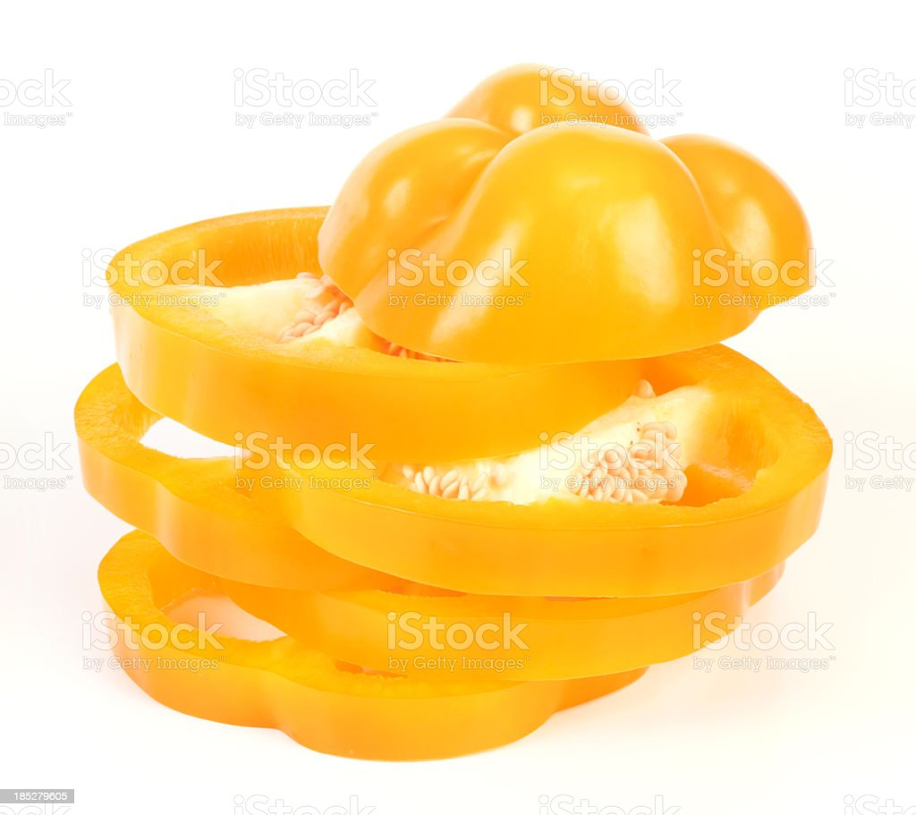 Yellow Bell Pepper with slices stock photo