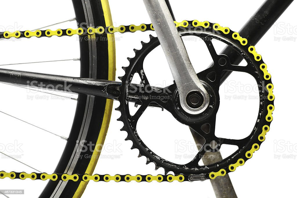 Yellow bicycle chain stock photo