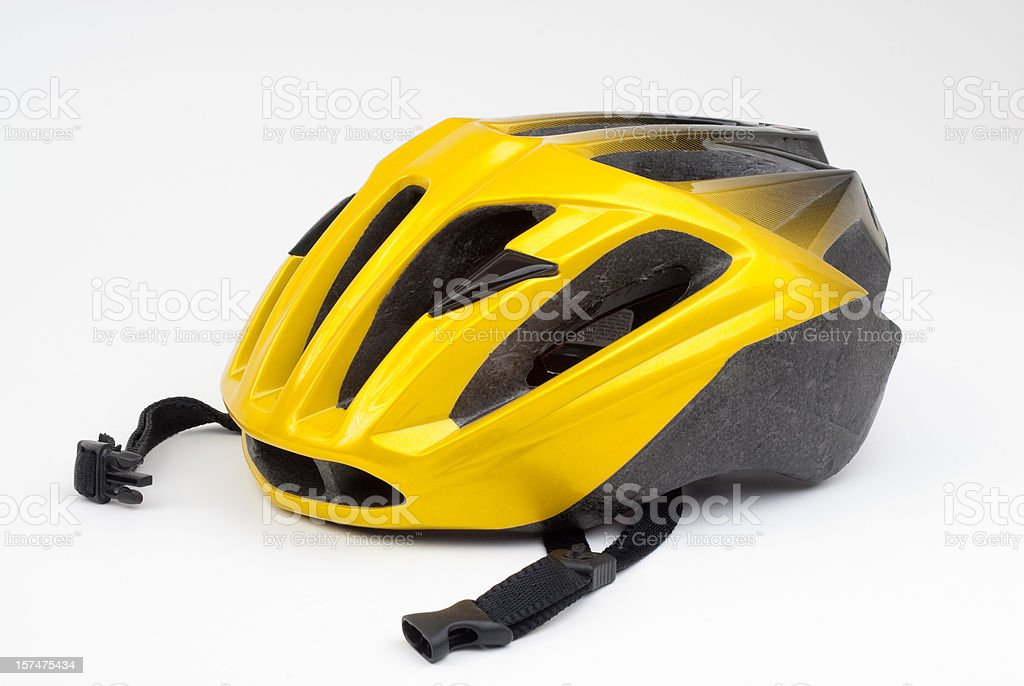 Yellow Bicycle Cycling Helmet on White stock photo