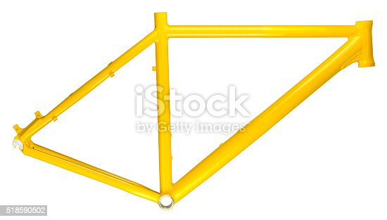 yellow bicycle frame isolated on white background