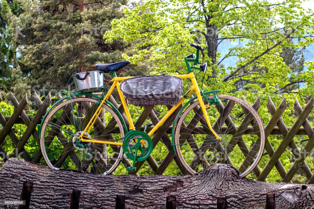Yellow bicycle on green trees background royalty-free stock photo