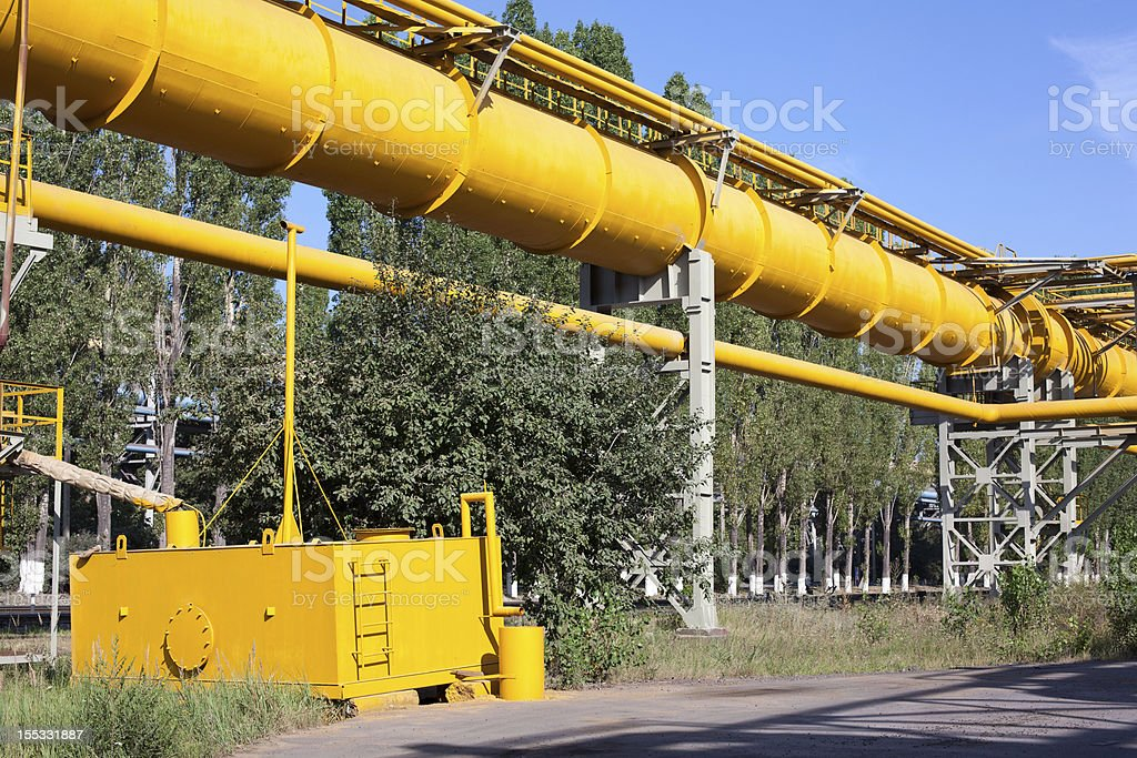Yellow big gas pipeline at industrial plant royalty-free stock photo