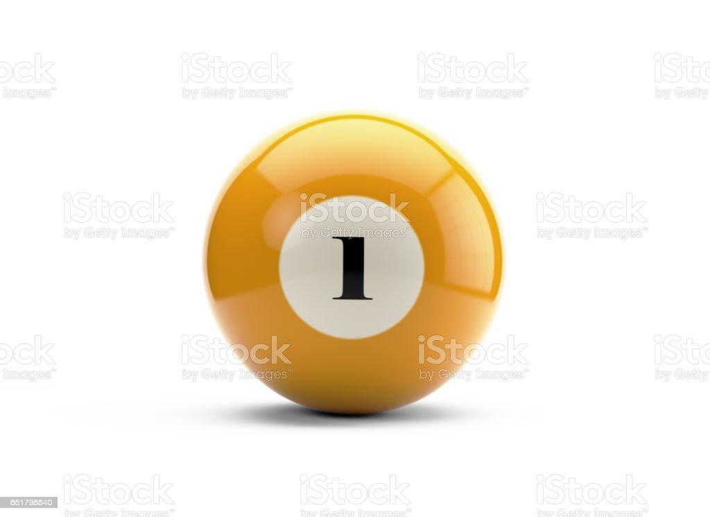 Bola de billar amarillo con fondo blanco aislado - foto de stock