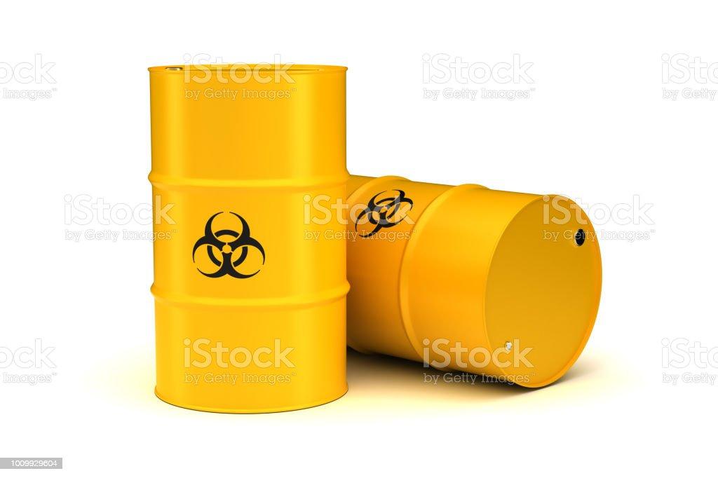 Yellow Biohazard Waste Barrels stock photo