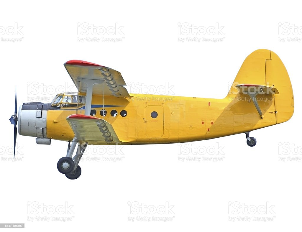 Yellow biplane on white background stock photo