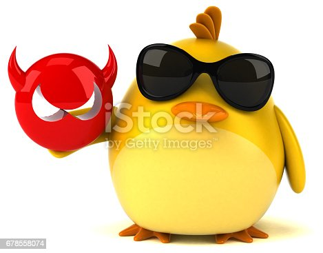istock Yellow bird - 3D Illustration 678558074