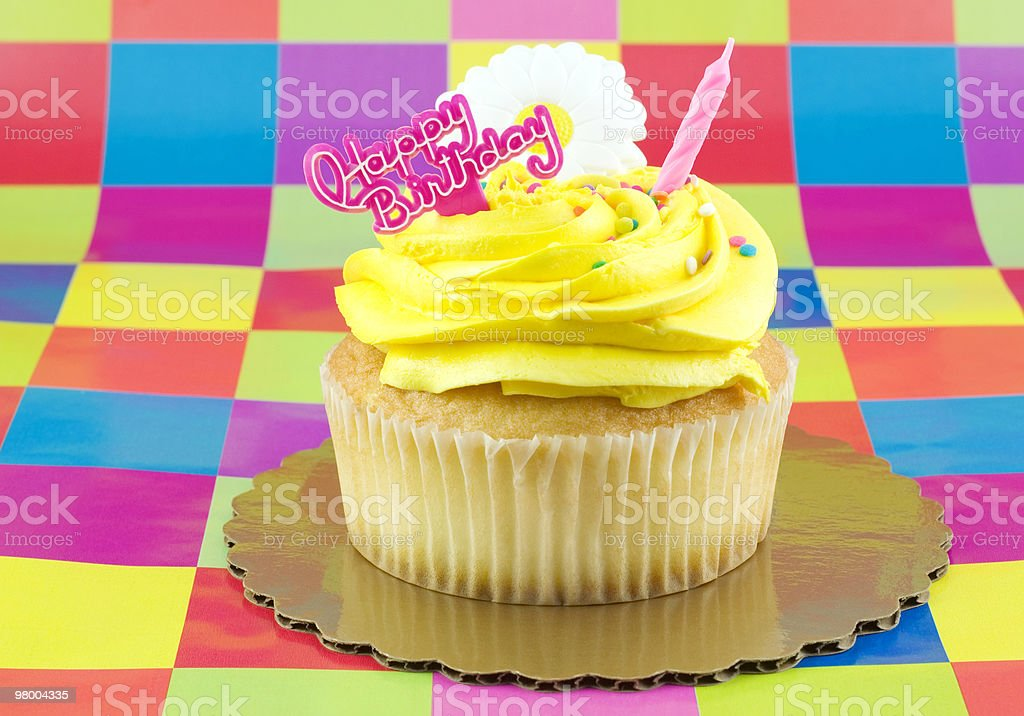 Yellow Birthday Cupcake royalty-free stock photo