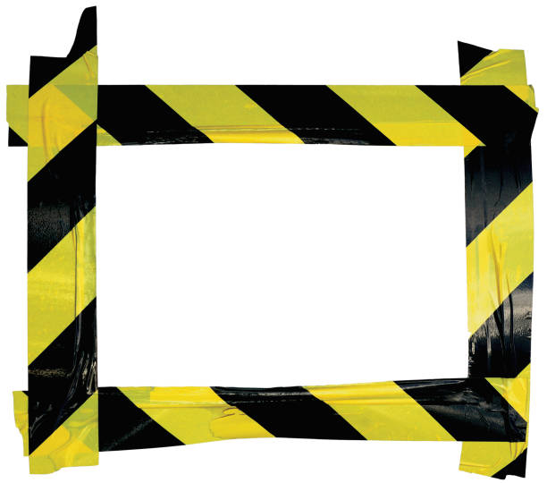 Yellow Black Caution Warning Tape Notice Sign Frame, Horizontal Adhesive Sticker Background, Diagonal Hazard Stripes Signal Safety Attention Concept, Isolated Large Detailed Closeup, Old Aged Weathered Grunge Pattern stock photo