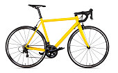 yellow black racing sport road bike bicycle racer isolated on white background