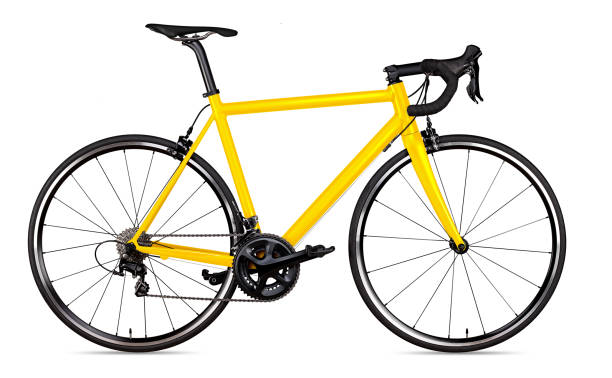 yellow black racing sport road bike bicycle racer isolated - cycling stock pictures, royalty-free photos & images