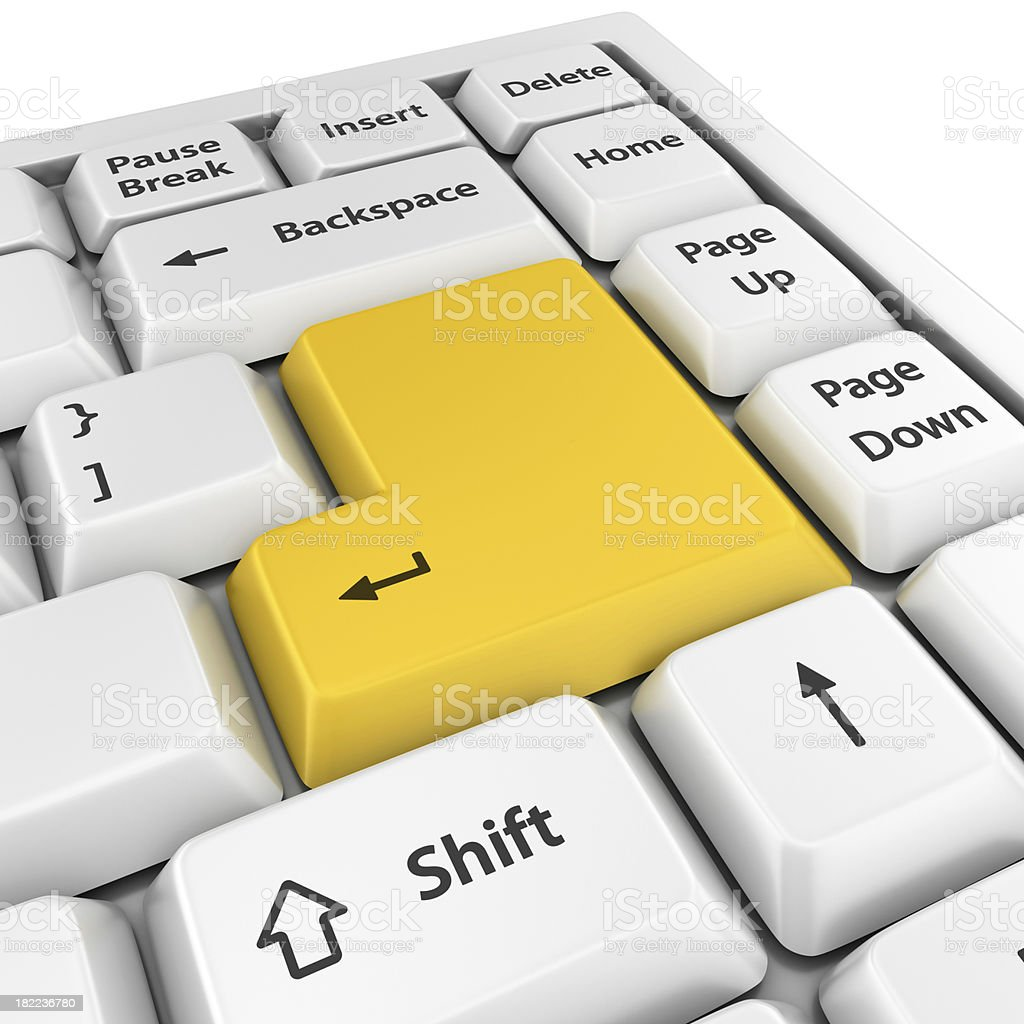 yellow blank enter button royalty-free stock photo