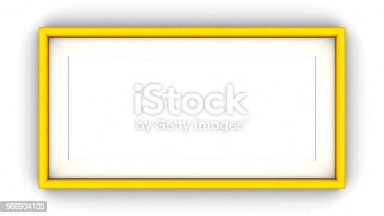 1144461291 istock photo Yellow blank frame and shadow on white background. 3d rendering 966904132