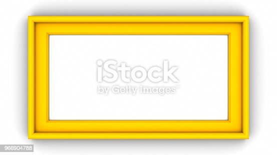 1144461291 istock photo Yellow blank frame on white background. 3d rendering 966904788