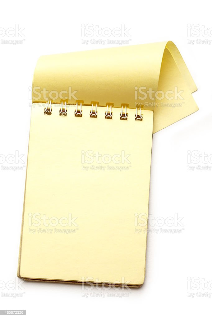 Yellow blank notepad with open page stock photo