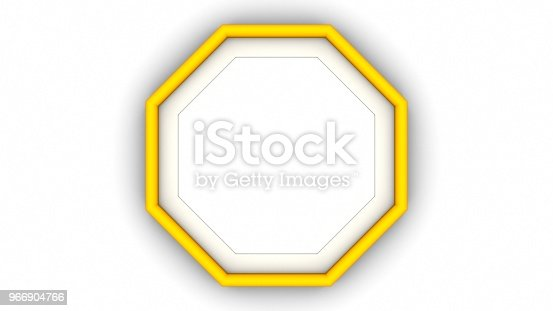 1144461291 istock photo Yellow blank octagon frame and shadow on white background. 3d rendering 966904766
