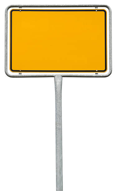 yellow blank sign (clipping path) isolated on white - place sign stock pictures, royalty-free photos & images