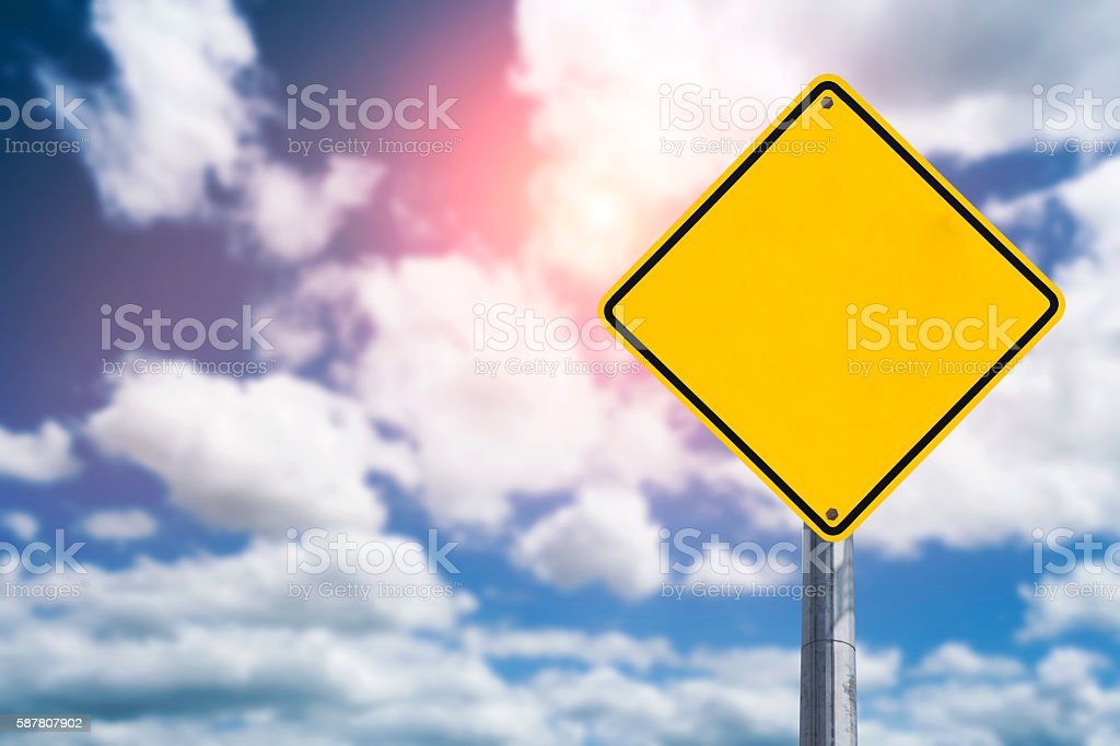 Yellow Blank Sign on blue sky stock photo