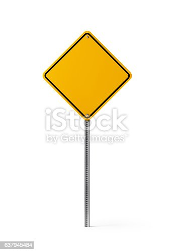 High quality 3d render of a yellow blank traffic sign isolated on white background. Clipping path is included. Great use as a template. Vertical composition with copy space.