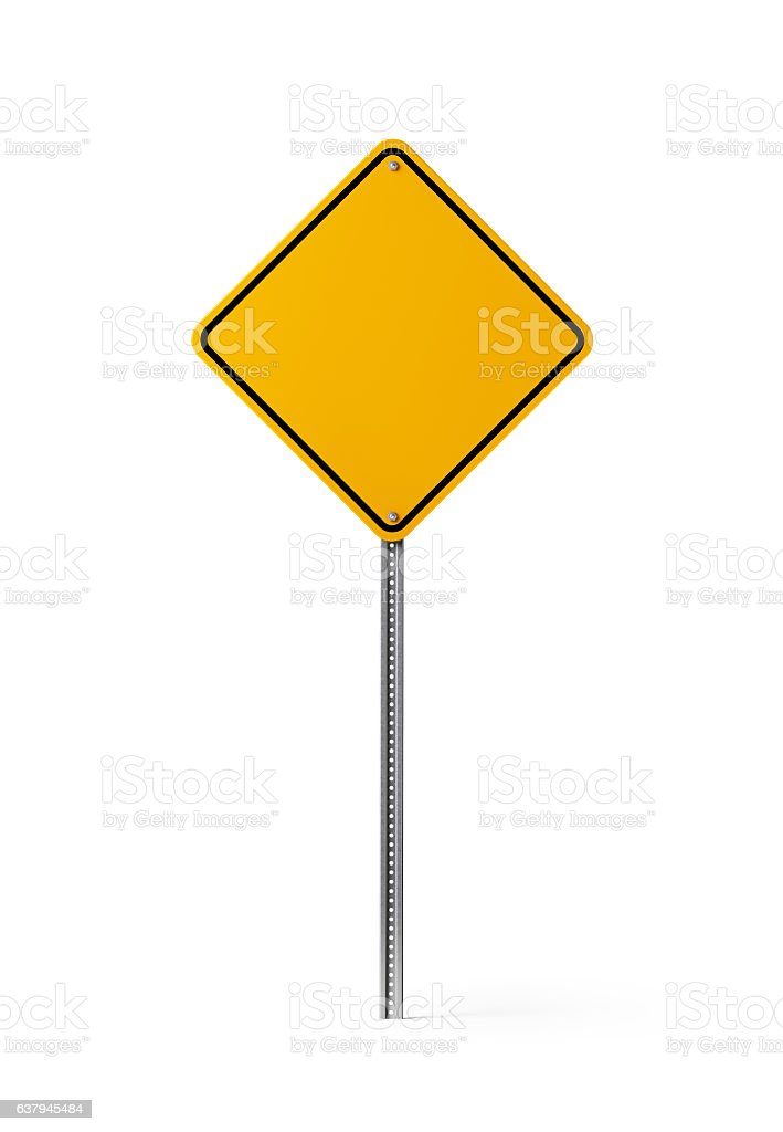 Yellow Blank Traffic Sign Isolated On White Background bildbanksfoto