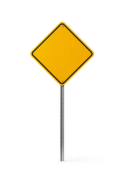 yellow blank traffic sign isolated on white background - 道路標識 ストックフォトと画像