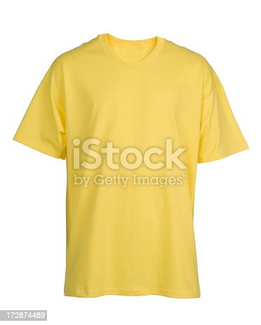 Front view of blank yellow short sleeved t shirt/on white. (rear view #5649887).http://www.garyalvis.com/images/thingsToWear.jpg