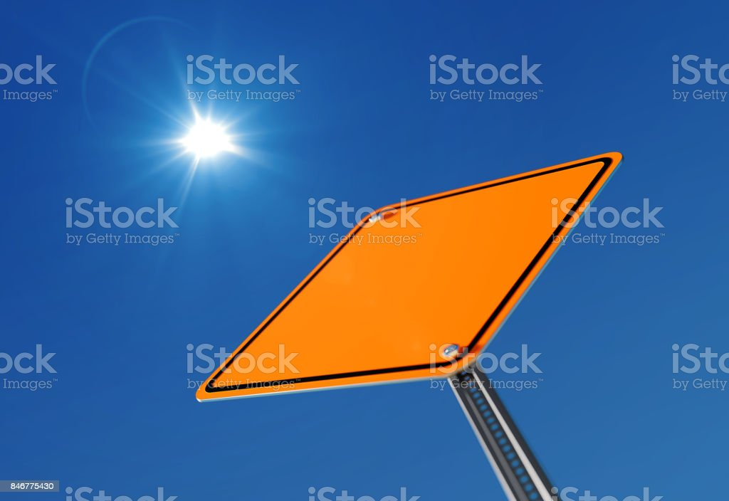 Yellow BlankTraffic Sign on Blue Sky stock photo