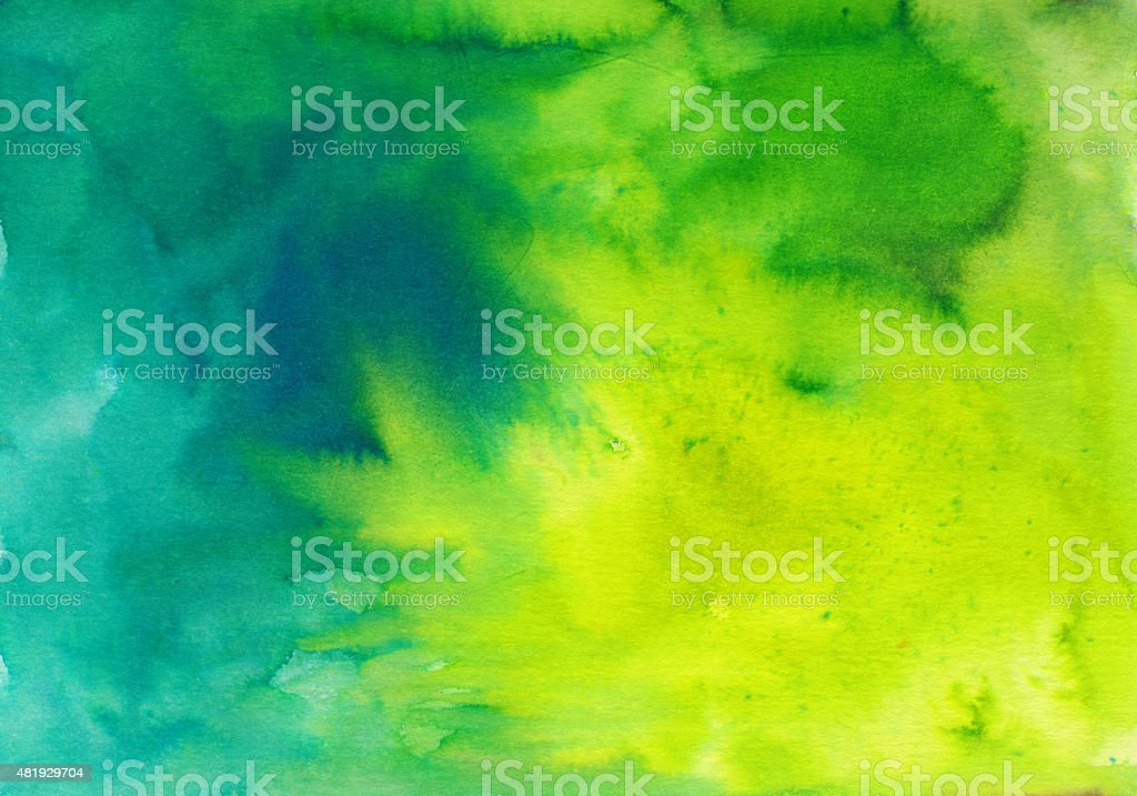 Yellow blue and green textured painting stock photo