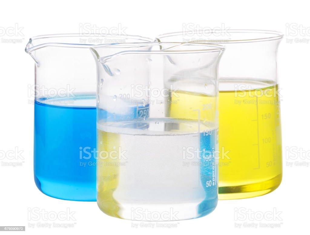 yellow, blue and transparent chemical liquid royalty-free stock photo