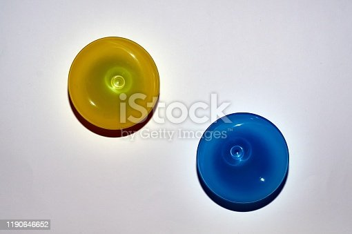 istock yellow, blue mug from top to bottom, top-down photographed 1190646652
