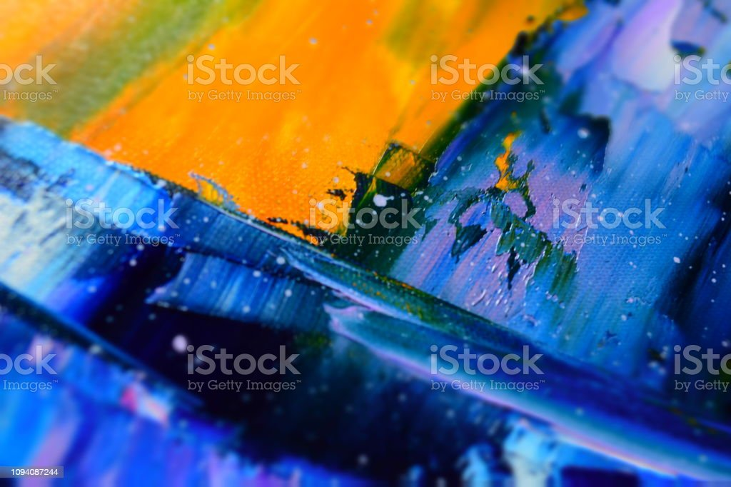Yellow Blue Orange Black Abstract Art Background Stock Photo Download Image Now