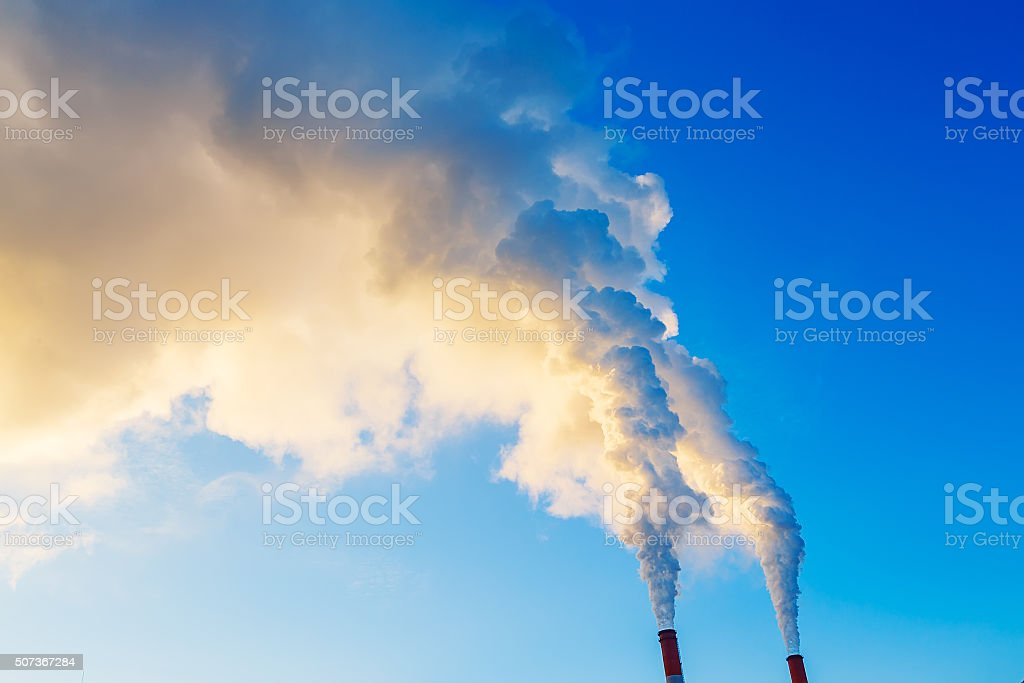 yellow blue smoke from two tubes of plant stock photo